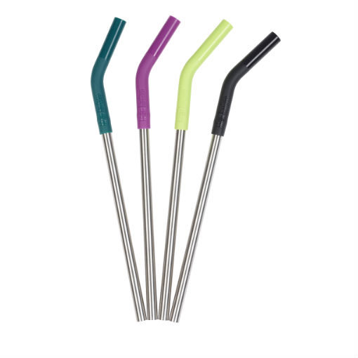 Steel Straws - 4 Pack (for Pints and Tumblers) - Multi Colour